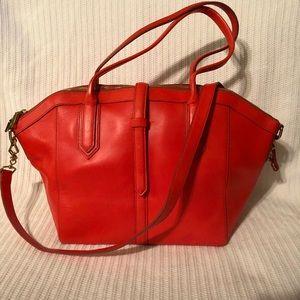 J Crew Tartine Satchel Orange/Red NWOT